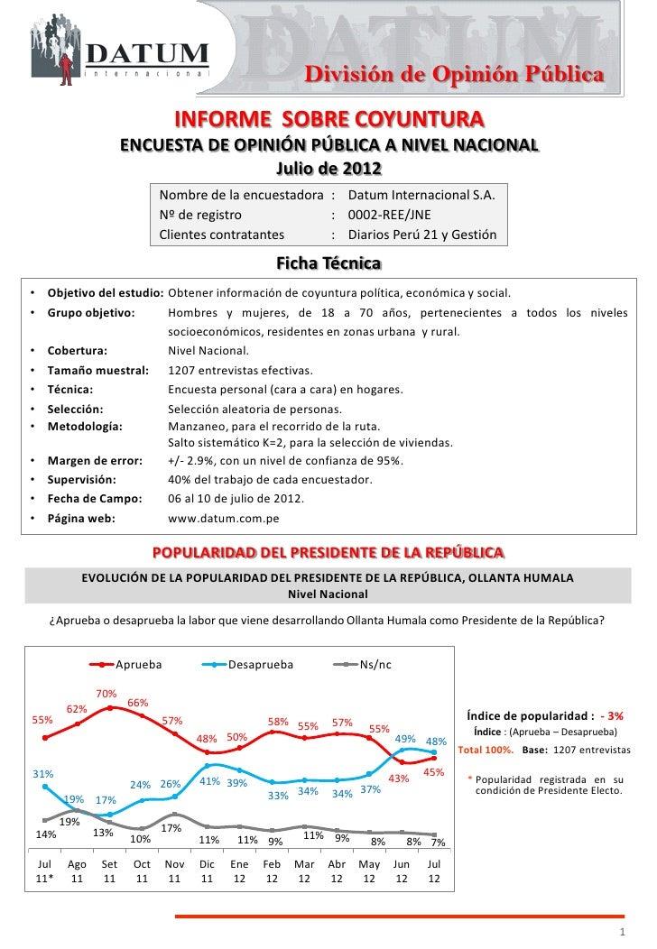 División de Opinión Pública                              INFORME SOBRE COYUNTURA                     ENCUESTA DE OPINIÓN P...