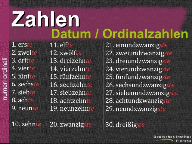 Zahlen numeri ordinali  der, die, das  sein  der, die, das der, die, das Datum / Ordinalzahlen  1. erste 2. zweite 3. drit...