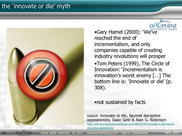 Paris, 2011some rights reserved - CC 2011 - visionarymarketing.com - Yann A. Gourvennec10 the 'innovate or die' myth •Gary...