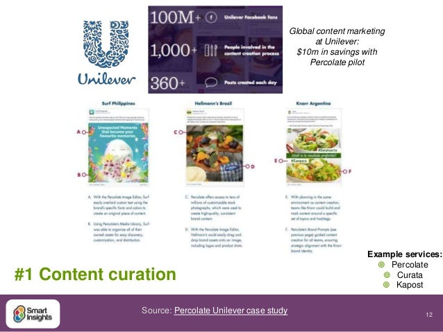 12  #1 Content curation  Global content marketing  at Unilever:  $10m in savings with  Percolate pilot  Source: Percolate ...