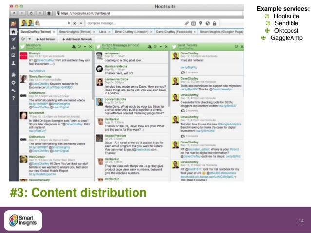 14  #3: Content distribution  Example services:   Hootsuite   Sendible   Oktopost   GaggleAmp