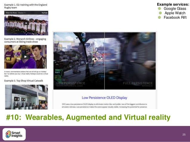 Example services:   Google Glass   Apple Watch   Facebook Rift  25  #10: Wearables, Augmented and Virtual reality