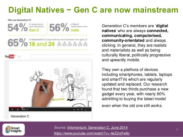 Digital Natives − Gen C are now mainstream  7  Generation C's members are 'digital  natives' who are always connected,  co...