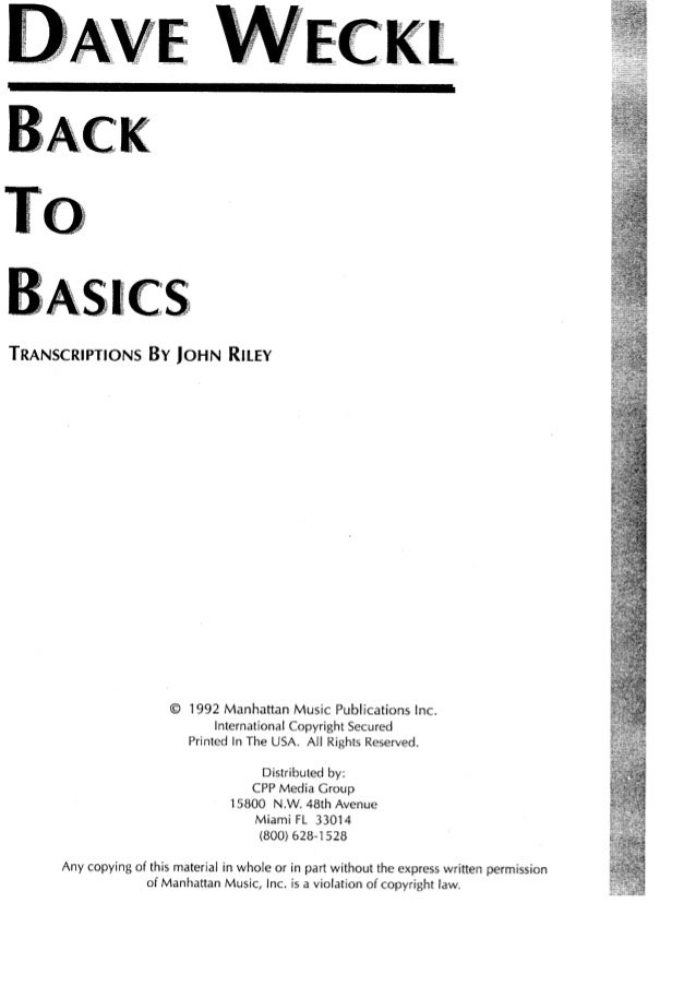 TRANSCRIPTIONS BY JOHN RILEY  © 1992 Manhattan Music Publications Inc.   International Copyright Secured Printed In The US...