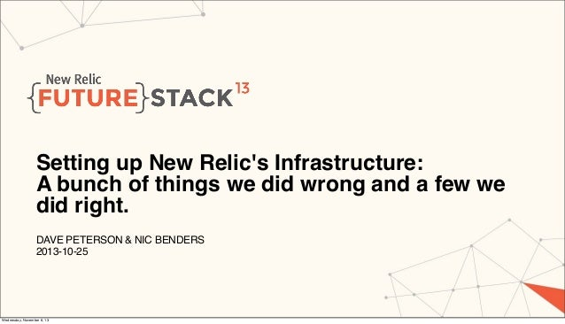 Setting up New Relic's Infrastructure: A bunch of things we did wrong and a few we did right. DAVE PETERSON & NIC BENDERS ...