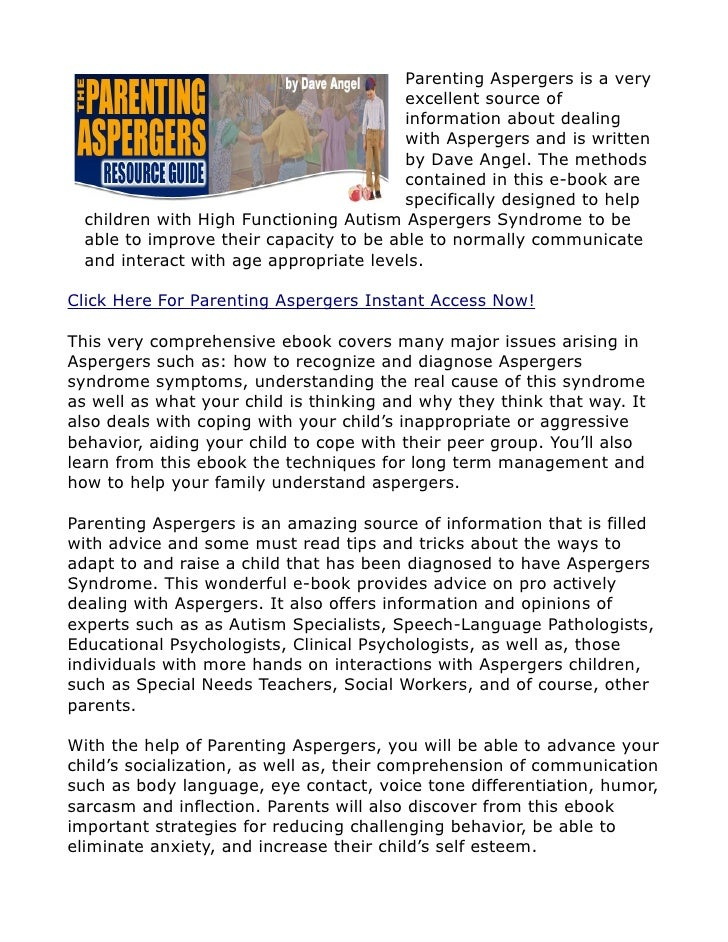 dave angel parenting aspergers teenagers with aspergers review rh slideshare net Asperger Syndrome Special Needs Parents