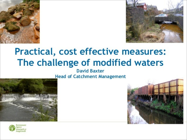 Practical, cost effective measures: The challenge of modified waters David Baxter Head of Catchment Management