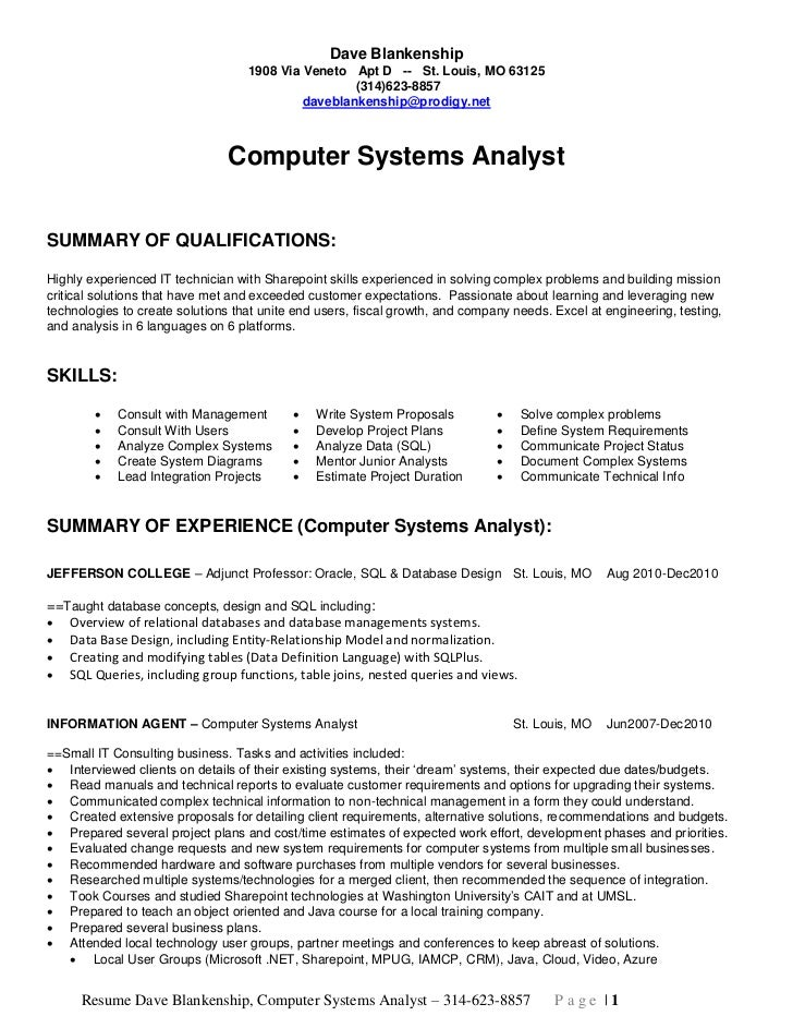 Perfect Dave Blankenship Computer Systems Analyst Long. Dave Blankenship 1908 Via  Veneto ... Intended Systems Analyst Resume