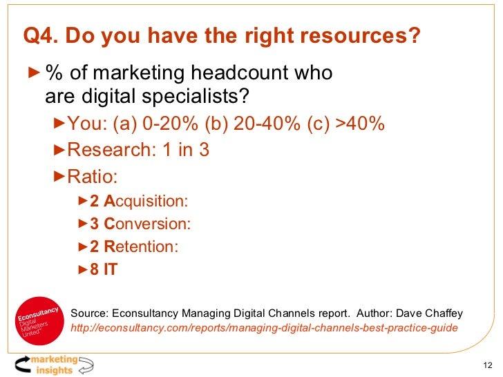 Q4. Do you have the right resources? <ul><li>% of marketing headcount who  are digital specialists? </li></ul><ul><ul><li>...