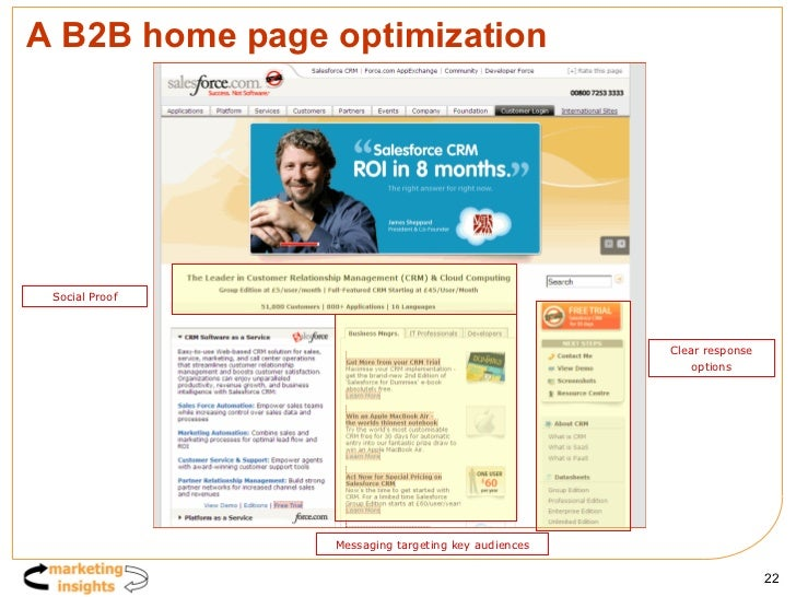 A B2B home page optimization Social Proof Clear response options Messaging targeting key audiences