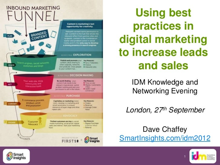 Using best   practices indigital marketingto increase leads    and sales   IDM Knowledge and   Networking Evening London, ...