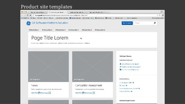 Product site templates
