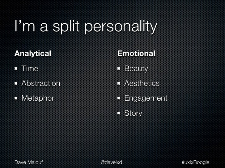 I'm a split personalityAnalytical            Emotional  Time                     Beauty  Abstraction              Aestheti...