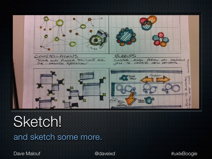 Sketch!and sketch some more.Dave Malouf        @daveixd   #uxlxBoogie