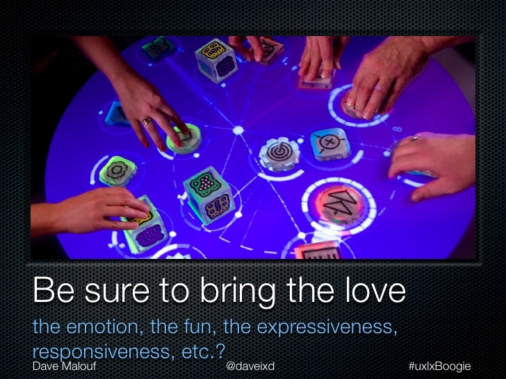 Be sure to bring the lovethe emotion, the fun, the expressiveness,responsiveness, etc.?Dave Malouf          @daveixd      ...
