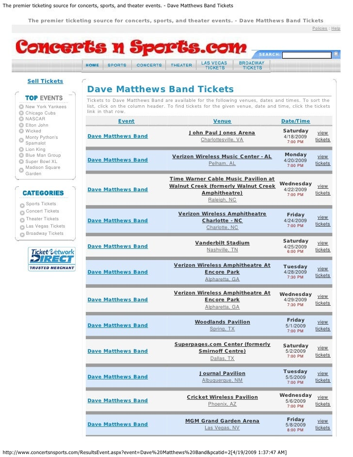 The premier ticketing source for concerts, sports, and theater events. - Dave Matthews Band Tickets          The premier t...