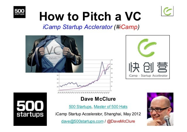 How to Pitch a VC iCamp Startup Acclerator (#iCamp) Dave McClure 500 Startups, Master of 500 Hats iCamp Startup Accelerato...