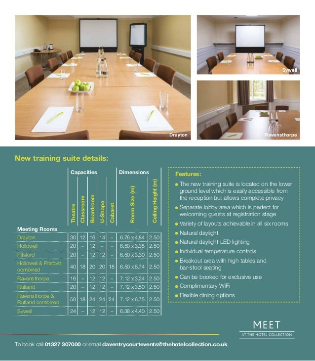 Daventry Court Hotel Northamptonshire Training Suites