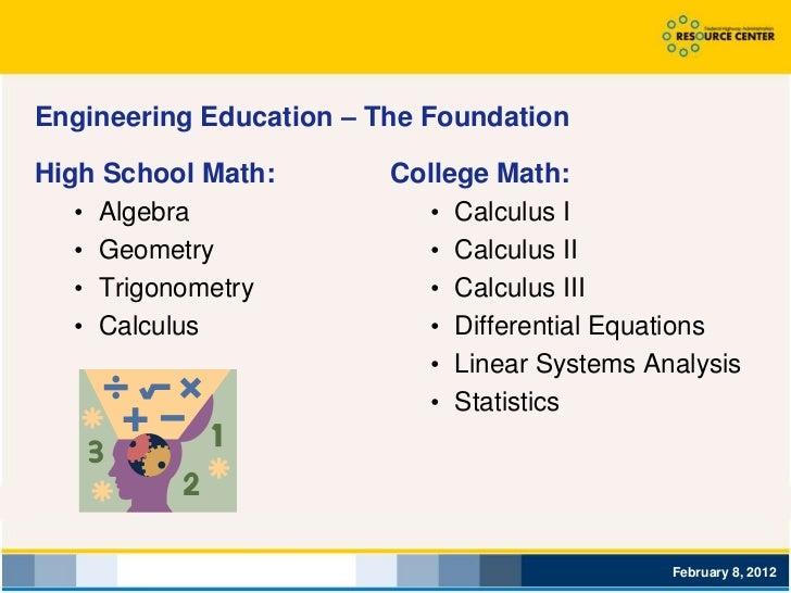 Engineering Education – The FoundationHigh School Math:        College Math:   • Algebra               • Calculus I   • Ge...