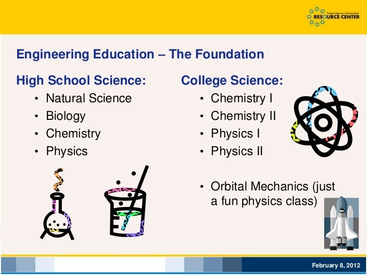 Engineering Education – The FoundationHigh School Science:     College Science:   • Natural Science       • Chemistry I   ...