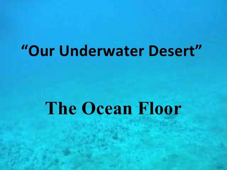 """"""" Our Underwater Desert"""" The Ocean Floor"""