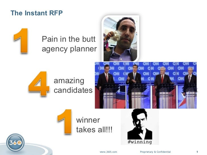 The Instant RFP Pain in the butt  agency planner winner takes all!!! amazing candidates