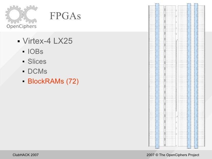 FPGAs       Virtex-4 LX25          IOBs          Slices          DCMs          BlockRAMs (72)     ClubHACK 2007      ...