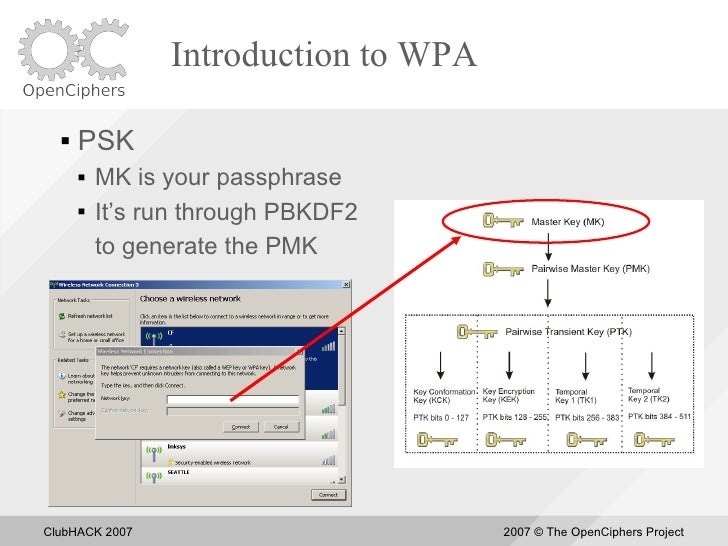 Introduction to WPA       PSK          MK is your passphrase          It's run through PBKDF2           to generate the...