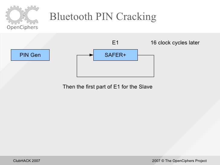 Bluetooth PIN Cracking                                         E1               16 clock cycles later     PIN Gen         ...