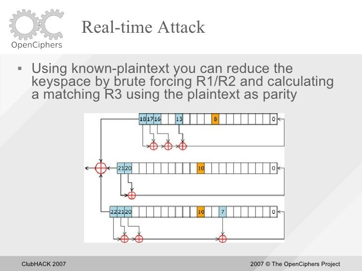 Real-time Attack       Using known-plaintext you can reduce the       keyspace by brute forcing R1/R2 and calculating    ...