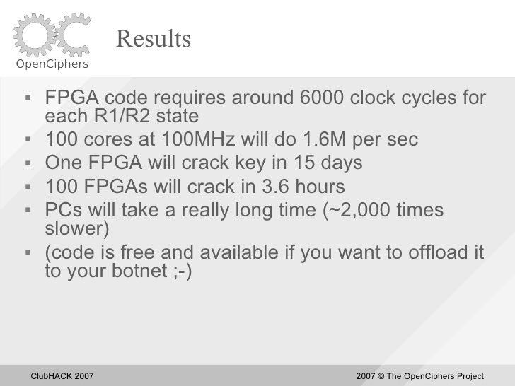 Results       FPGA code requires around 6000 clock cycles for       each R1/R2 state      100 cores at 100MHz will do 1....