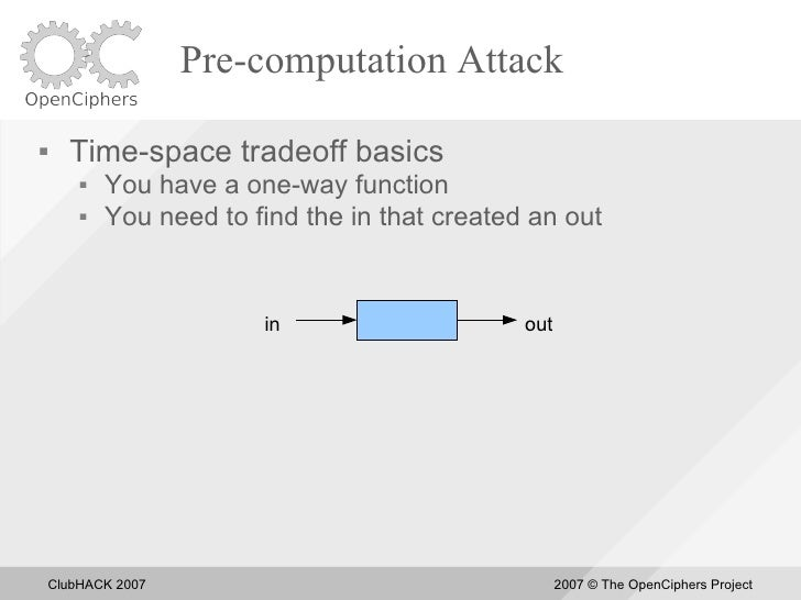 Pre-computation Attack       Time-space tradeoff basics            You have a one-way function            You need to f...