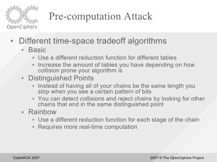 Pre-computation Attack       Different time-space tradeoff algorithms            Basic                 Use a different ...