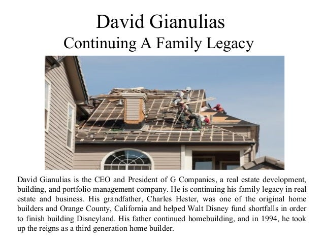 David Gianulias Continuing A Family Legacy David Gianulias is the CEO and President of G Companies, a real estate developm...