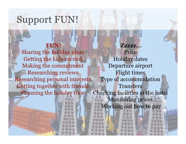 Support FUN!              FUN!                       Zzzzz…   Sharing the holiday ideas             Price    Getting the k...