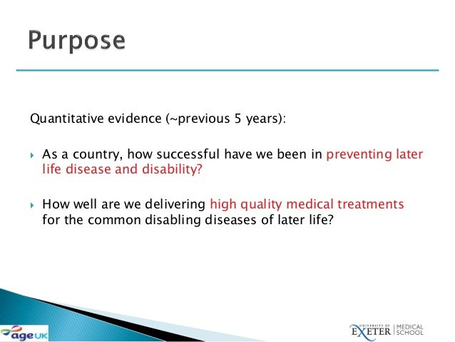 David Melzer: Health care quality for an active later life Slide 2