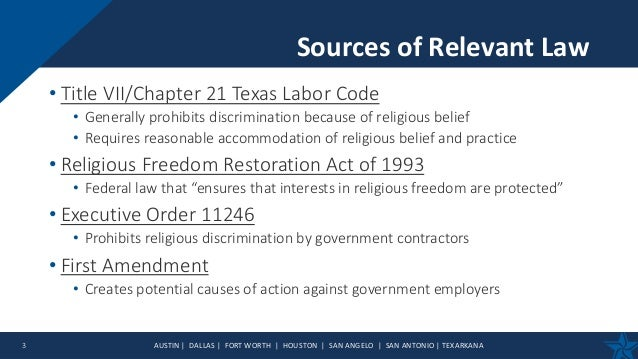 Religious Accommodation and Discrimination - Religion and the Workplace Slide 3