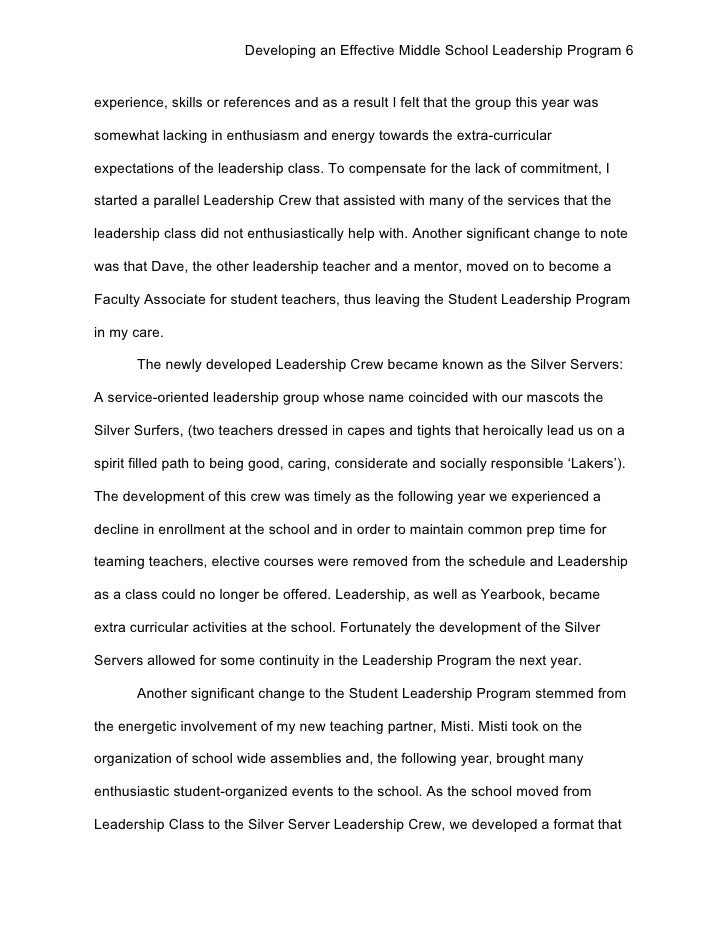 student leader essay Whether it is an individualized or a team sport, all sports can benefit from having  a student leader, and so high school sports teams usually.