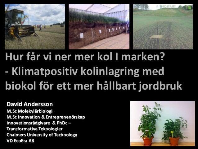 Hur får vi ner mer kol I marken?- Klimatpositiv kolinlagring medbiokol för ett mer hållbart jordbrukDavid AnderssonM.Sc Mo...