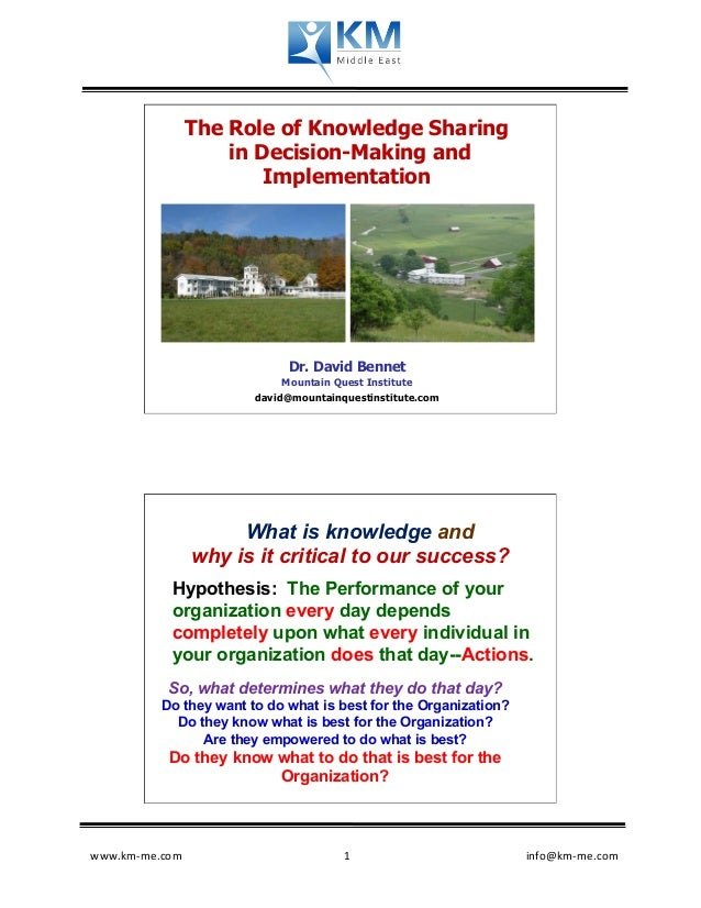 The Role of Knowledge Sharing                      in Decision-Making and                          Implementation         ...