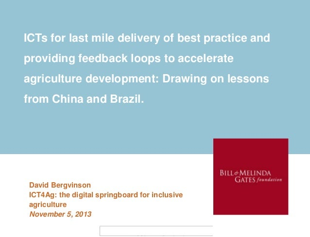 ICTs for last mile delivery of best practice and providing feedback loops to accelerate agriculture development: Drawing o...