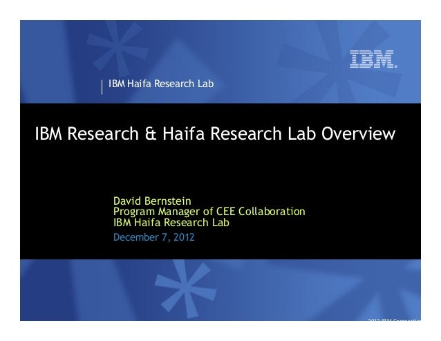 IBM Haifa Research LabIBM Research & Haifa Research Lab Overview         David Bernstein         Program Manager of CEE Co...