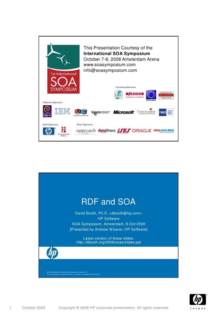 This Presentation Courtesy of the                                                                   International SOA Symp...