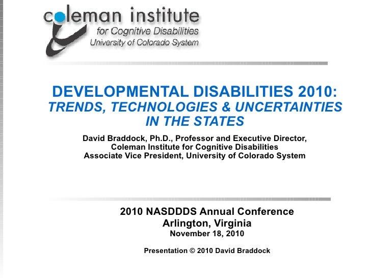 David Braddock Keynote Address NASDDDS 2010 Annual Conference