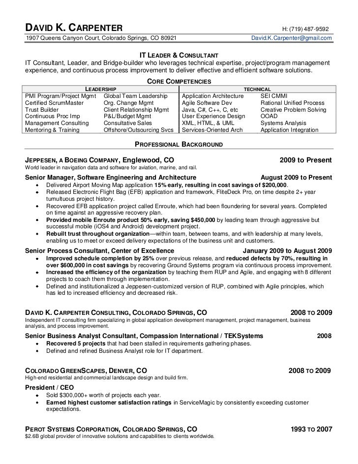 David Carpenter 39 S It Executive Resume   Lead Carpenter Sample Resume  Carpenter Resume