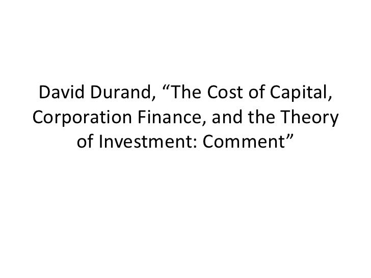 David durand the cost of capital