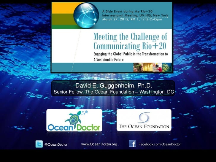 David E. Guggenheim, Ph.D.    Senior Fellow, The Ocean Foundation – Washington, DC@OceanDoctor     www.OceanDoctor.org    ...