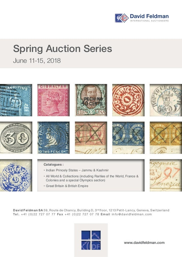 David Feldmans 21st Rarities of the World Stamp Auction