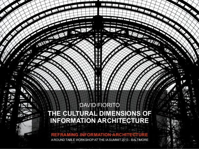 DAVID FIORITOTHE CULTURAL DIMENSIONS OF INFORMATION ARCHITECTUREREFRAMING INFORMATION ARCHITECTUREA ROUND TABLE WORKSHOP A...