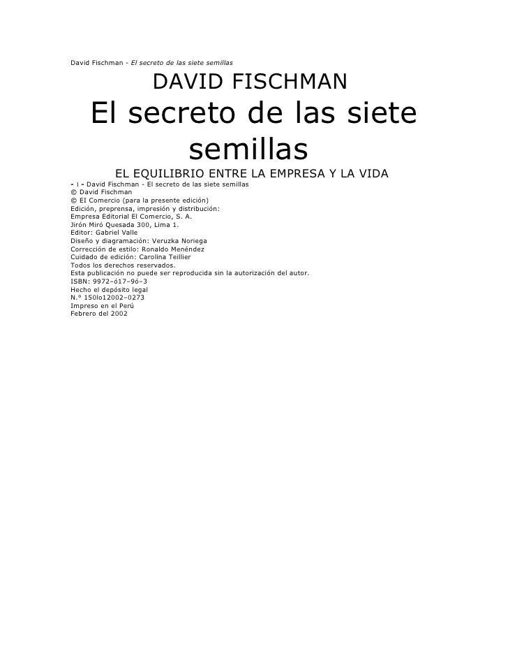 David Fischman - El secreto de las siete semillas                        DAVID FISCHMAN     El secreto de las siete       ...